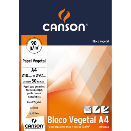 Bloco Papel Vegetal Canson A4 90g 50fls