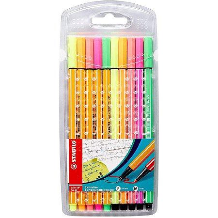 Caneta Stabilo Point Pen Neon Estojo C/10 Unid. 88/8