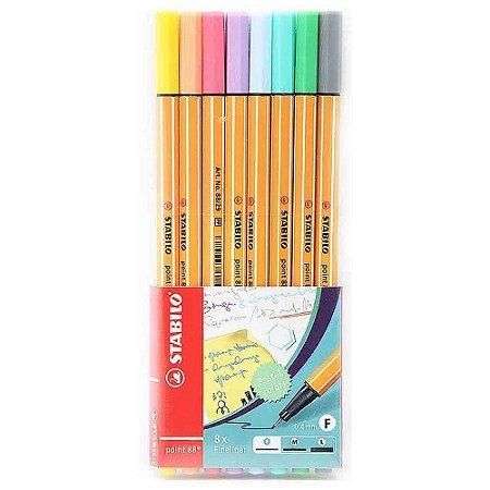 Caneta Stabilo Point 88 Cores Pastel Estojo C/8 Cores 88/8-01