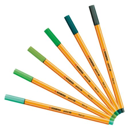 Kit Caneta Stabilo Point 88 - Tons de Verde