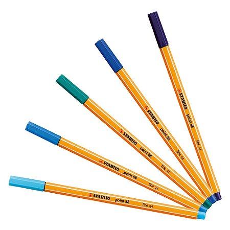 Kit Caneta Stabilo Point 88 - Tons de Azul