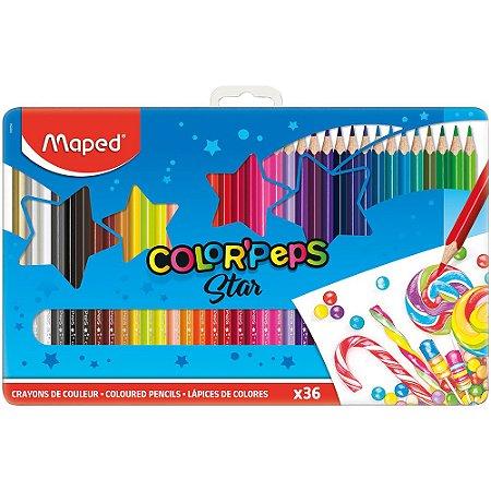 Lápis De Cor Color Peps c/36 Cores Estojo Metal Maped