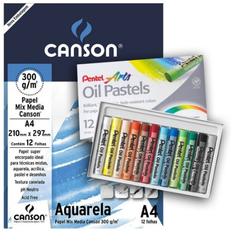 Kit Papel Canson Aquarela 12 Fls E Giz Pentel Oleoso 12 Cores