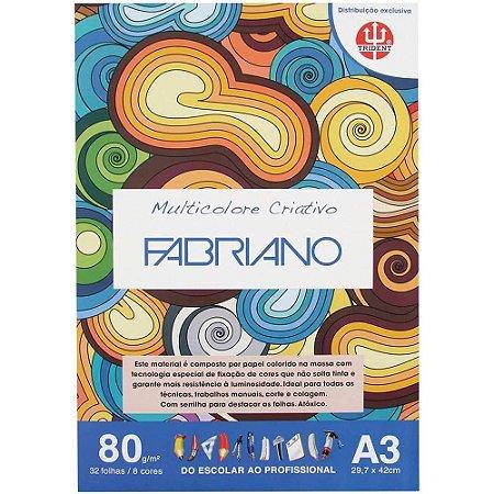 Papel Multicolore Criativo 8 Cores A3 80gr 32 Folhas