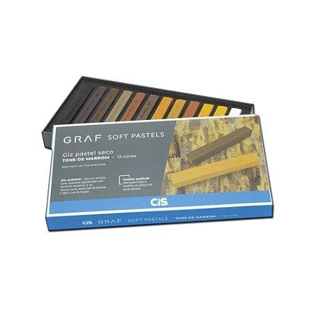 Giz Pastel Seco Graf Soft Pastels Cis Tons De Marrom C/12 Cores