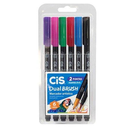 Estojo Caneta Pincel Cis Dual Brush C/6 Cores Aquarelável