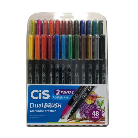 Estojo Caneta Pincel Cis Dual Brush C/48 Cores Aquarelável