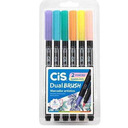 Estojo Caneta Pincel Cis Dual Brush C/6 Pastel Aquarelável
