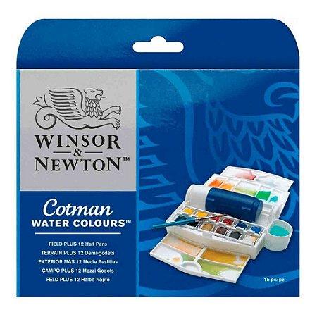 Aquarela Em Pastilha Winsor & Newton Cotman C/12 Cores Field Plus 0390374