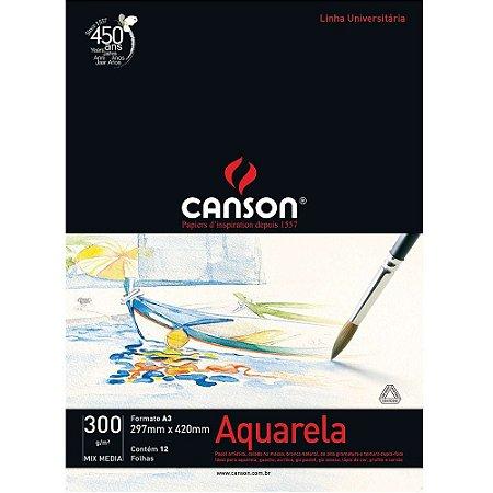 Bloco Papel Aquarela Mix Media Universitário A2 12fls 300g Canson 66667182