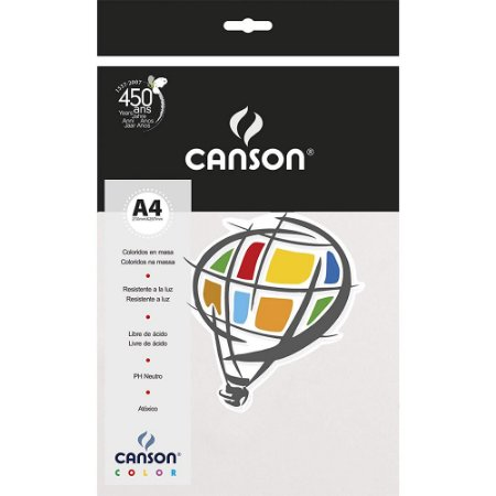 Papel Colorido A4 Canson Color Branco 180g 10 Folhas
