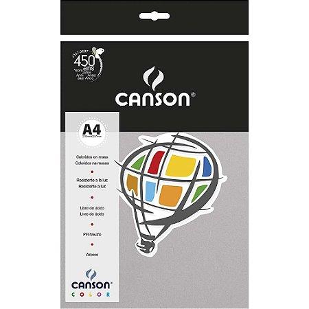 Papel Colorido A4 Canson Color Cinza A4 180G 10 Folhas