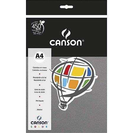 Papel Colorido A4 Canson Color Cinza Escuro 180g 10 Folhas
