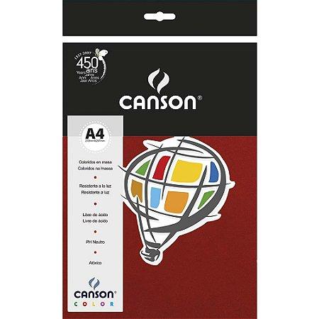 Papel Colorido Canson Color Granate180g 10 Folhas Vinho