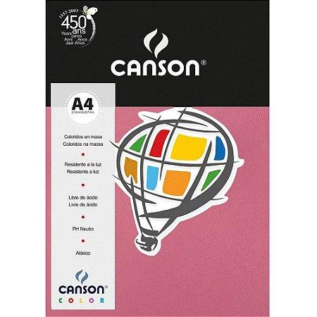 Papel Colorido A4 Canson Color Rosa Chiclete 180g 10 Folhas