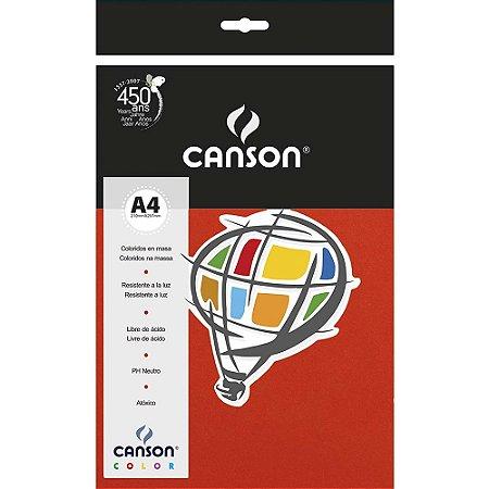 Papel Colorido A4 Canson Color Vermelho 180g 10 Folhas