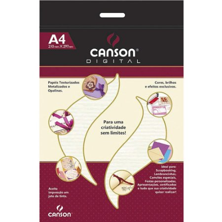 Papel A4 Canson Verge Branco 20Fls 180G Digital 352400
