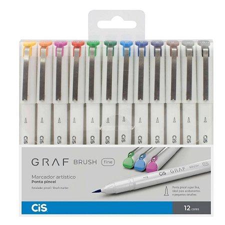 Caneta Pincel Cis Graf Brush Fine C/ 12 Cores