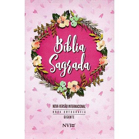 Bíblia Nvi Gigante 2 Cores Nova Ortografia com Zíper - Estampada Rosa