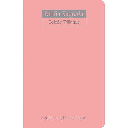 Bíblia Sagrada Nvi Trilíngue Extra Gigante - Capa Luxo Nude Rosa