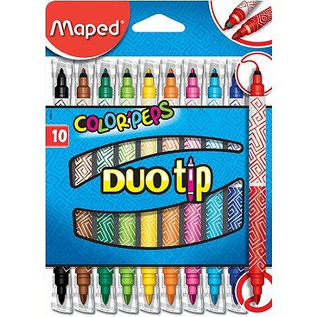 Caneta Hidrografica Maped Color Peps Duo Tip C/10 Cores 849010