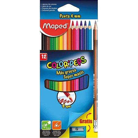 Kit Maped Lapis Cor 12 Cores Color Peps + Apontador + Lapis Grafite