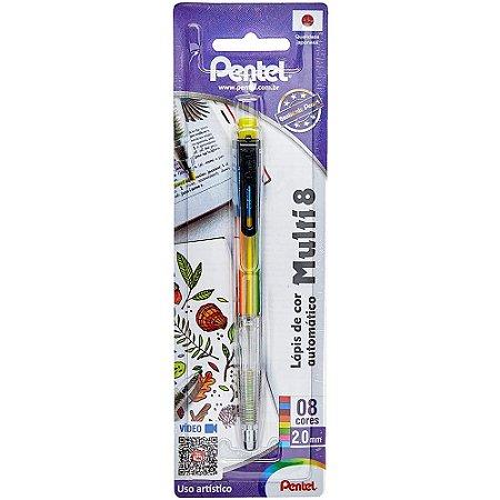 Lápis De Cor Automático Pentel Multi 8 C/ 8 Cores PH158ST1
