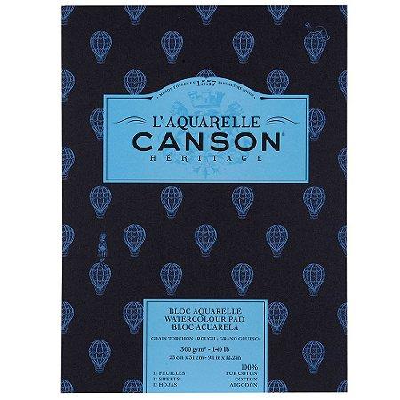 Bloco Canson Héritage Aquarela Textura Grossa 23x31 12fls 300g