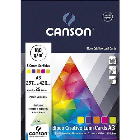 Bloco Papel Criativo Lumi Cards 5 Cores A3 25fls 180g 66667173