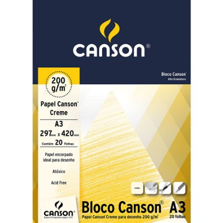 Bloco Papel Canson Desenho Creme A3 20fls 200g 66667041