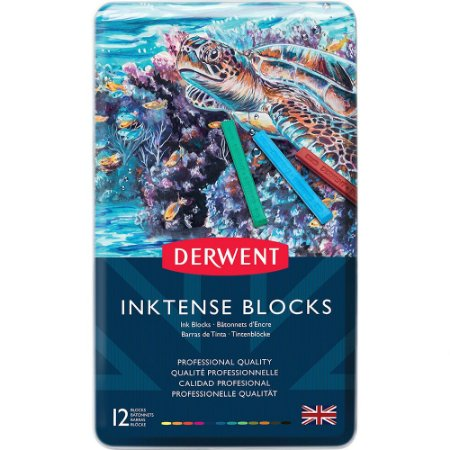 Giz Pastel Inktense Blocks Aquarelável 12 Cores Estojo Lata 2300442