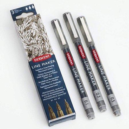 Kit Estojo Com 3 Canetas Graphik Line Maker 0,1/0,3/0,5mm Grafite 2305562