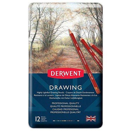 Lápis De Cor Permanente Drawing 12 Cores Estojo Lata 700671