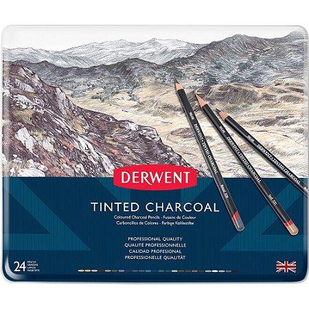 Lápis De Cor Em Carvão Tingido 24 Cores Estojo Lata 2301691