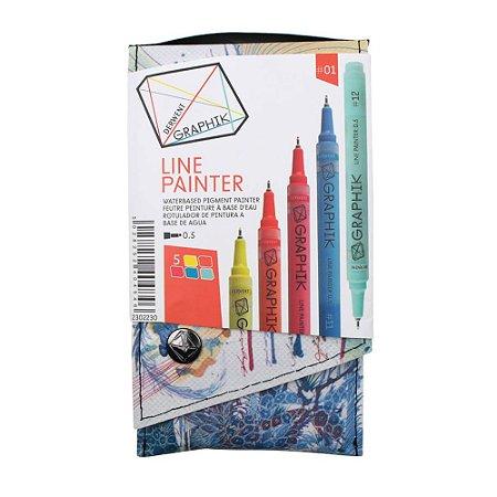 Kit Estojo Com 5 Canetas Graphik Line Painter 0,5mm - Paleta #01 2302230