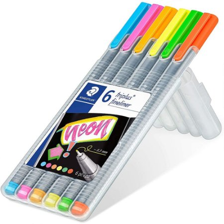 Estojo Caneta Triplus Fineliner Staedtler 0.3mm C/6 Neon Colours