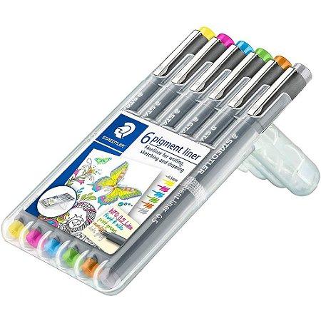 Estojo C/6 Canetas Staedtler Pigment Liner Coloridas 0.5mm