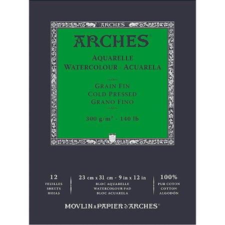 Bloco Papel Arches Aquarela Cold Pressed 23X31Cm 12 Folhas