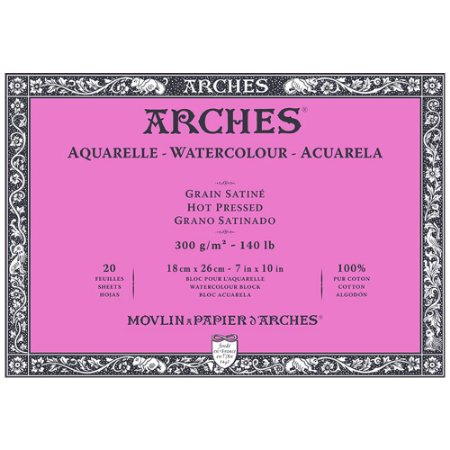 Bloco Arches Papel Aquarela Satine Hot Pressed 18X26Cm 20Fls
