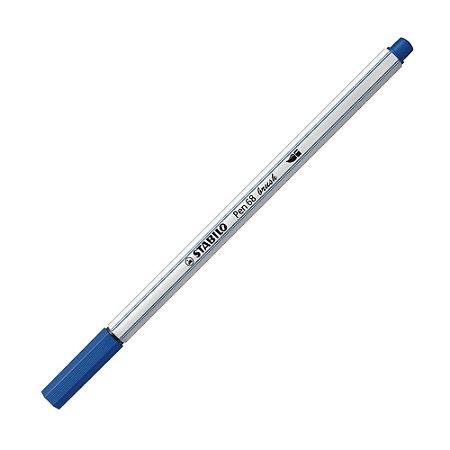 Caneta Pincel Stabilo Pen 68 Brush Lettering Azul Escuro