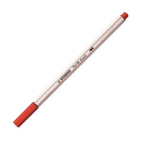 Caneta Pincel Stabilo Pen 68 Brush Lettering Vermelho Claro