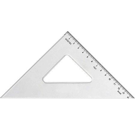 Esquadro Trident Acrílico 21Cm 45°/45°/90° Com Escala 1521