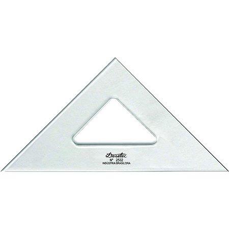 Esquadro Trident Acrílico 32Cm 45°/45°/90° Sem Escalas 2532
