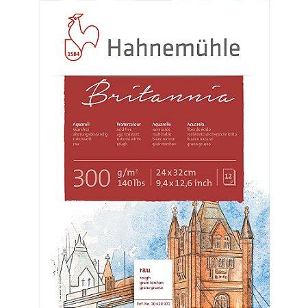 Bloco Aquarela Britannia Hahnemuhle 300 g/m² 24x32 Rough 12Fls