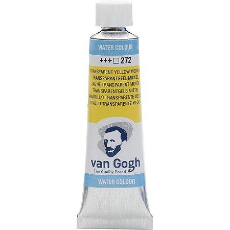 Tinta Aquarela Talens Van Gogh Transparent Yellow Medium 272 Tubo 10ml