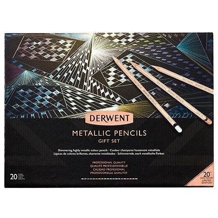 Lápis Cor Derwent Permanente Metallic 20 Cores Limited Edition