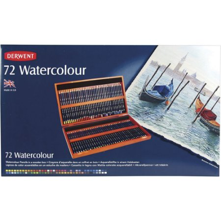 Estojo Madeira Lápis Cor Derwent Watercolour 72 Cores Aquarelável