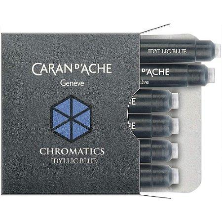 x6 Cartucho Caneta Tinteiro Caran D'Ache Chromatics Idyllic Blue 8021.144
