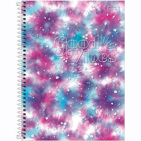Caderno Tilibra Good Vibes 1 Matéria Universitário Espiral 80Fls