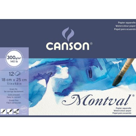 Bloco Aquarela Montval 300g Textura Fina 18x25 12Fls Canson
